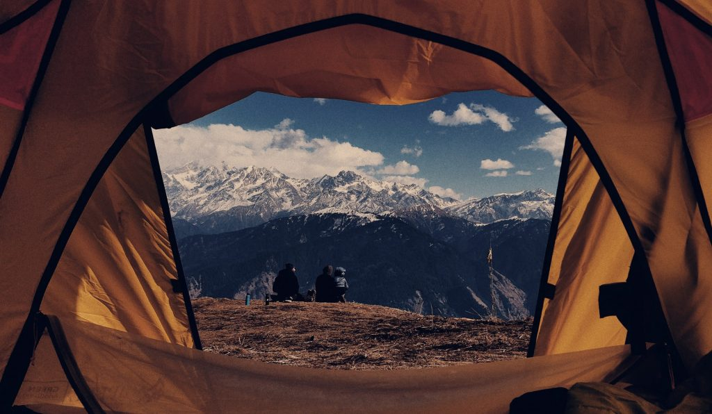 View from inside a tent.